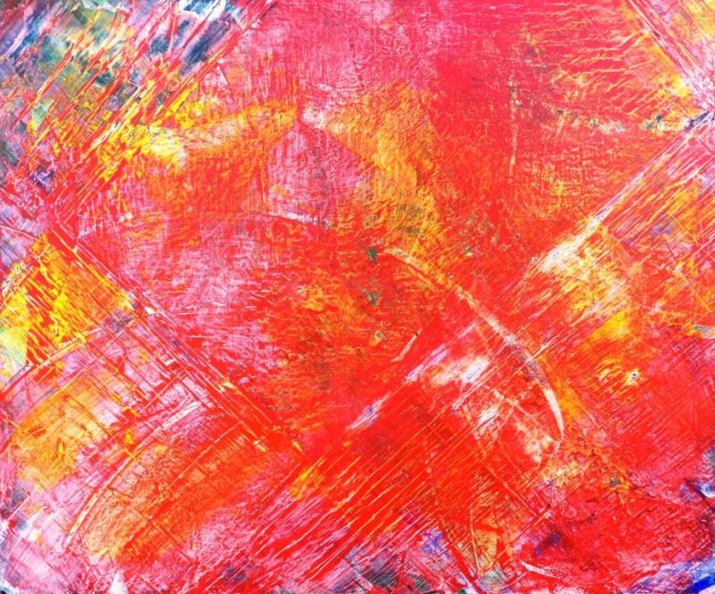 Abstrait Acrylique,Pigment,Rouge,Jaune